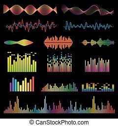 sygnał, wektor, muzyka, fale, dźwiękowy, set.