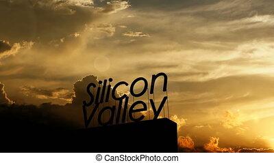 sylikonowa dolina, piękny, drogowskaz, sunset., na