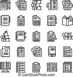 Syllabus icons set. Outline set of syllabus vector icons for web design isolated on white background