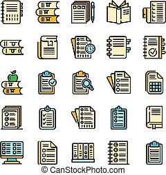 Syllabus icons set. Outline set of syllabus vector icons thin line color flat on white