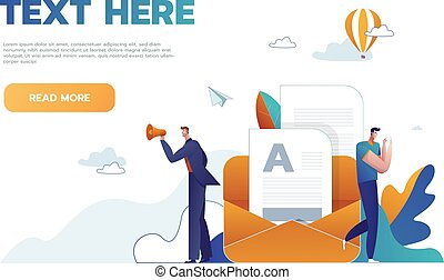 Syllabus task done concept people with megaphone, mobile phone nearby giant clipboard checklist and check mark ticks flat style design vector illustration isolated white background.