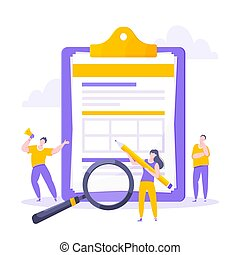 Syllabus task done concept tiny people with megaphone, magnifying glass and pencil nearby giant clipboard checklist and check mark ticks flat style design vector illustration isolated white background