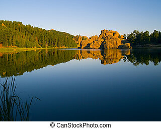 Early morning from the shore of Sylvan Lake in the Black Hills of South Dakota