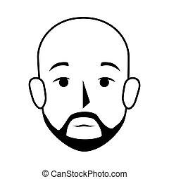 sylwetka, łysy, prospekt przodu, wąsy, człowiek