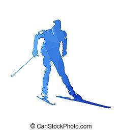 sylwetka, abstrakcyjny, krzyż-kraj, wektor, narciarstwo, geometryczny