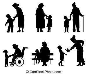 sylwetka, babki, wnuk