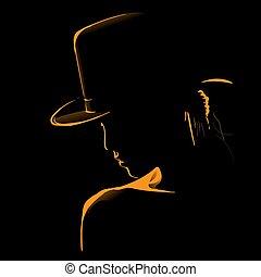 sylwetka, backlight., kapelusz, kobieta