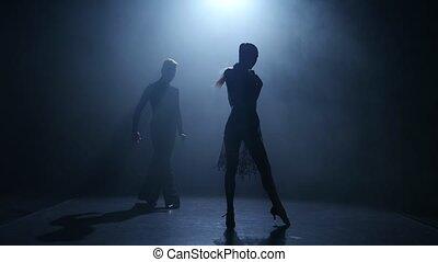 sylwetka, ballroom taniec, para, element, tło., dym, jive