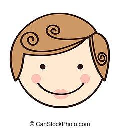 sylwetka, barwny, twarz, przód, człowiek, rysunek, prospekt