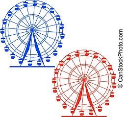 sylwetka, barwny, wheel., atraktsion, illustratio, ferris, wektor