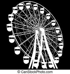sylwetka, barwny, wheel., atraktsion, ilustracja, ferris, wektor