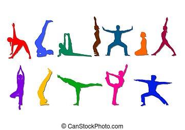 sylwetka, barwny, yoga