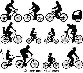 sylwetka, bicyclists