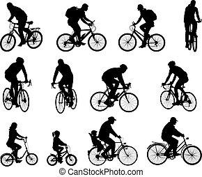 sylwetka, bicyclists, zbiór