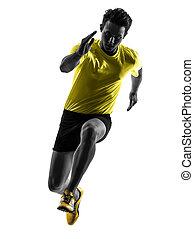 sylwetka, biegacz, sprinter, obsadzać bieg, młody
