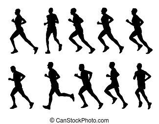 sylwetka, biegacze