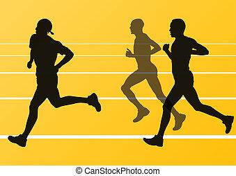 sylwetka, biegacze, wektor, maraton, wyścigi