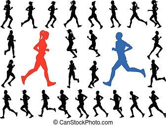 sylwetka, biegacze, zbiór
