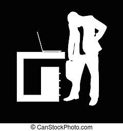 sylwetka, biuro, ilustracja, czarne tło, człowiek