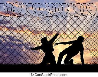 sylwetka, brzeg, refugees, krzyżowany