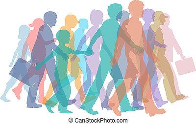 sylwetka, chód, tłum, barwny, ludzie