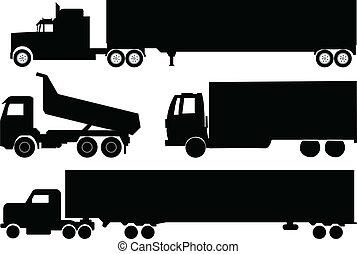 sylwetka, ciężarówki, zbiór