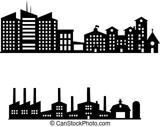 sylwetka, cityscapes, komplet, z, odizolowany, białe tło, wektor, illustration.black, zabudowanie, set.