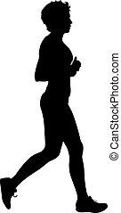 sylwetka, czarne tło, biały, sprint, biegacze, kobiety