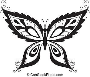 sylwetka, czarnoskóry, motyl