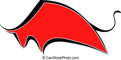 sylwetka, czerwony, byk