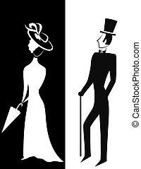 sylwetka, dżentelmen, dama