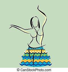 sylwetka, dama, taniec