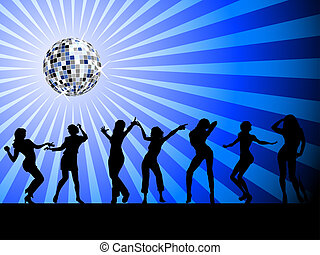 sylwetka, dancefloor, ludzie, taniec