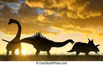 sylwetka, dinosaurs.