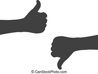 sylwetka, do góry, ręka, na dół, kciuki, dzierżawa, albo