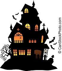 sylwetka, dom, wizerunek, 1, temat, nawiedzany
