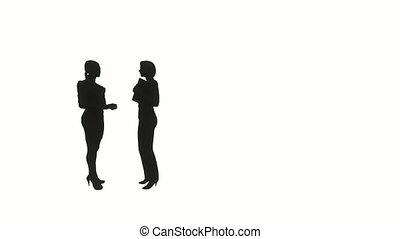 sylwetka, dwa, handlowy, women.