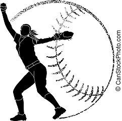 sylwetka, dzban, softball