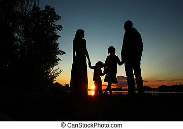 sylwetka, dzieci, rodzina