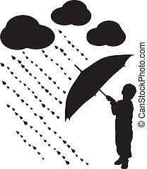 sylwetka, dziecko, z, parasol