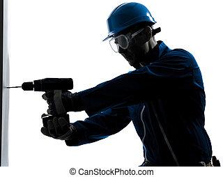 sylwetka, dzierżawa, pracownik, zbudowanie, dryl, człowiek