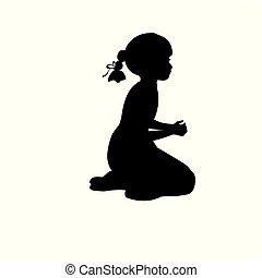 sylwetka, dziewczyna, posiedzenie, poła, modlitwa