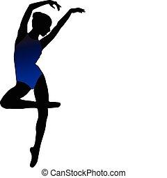 sylwetka, dziewczyna, taniec, balet