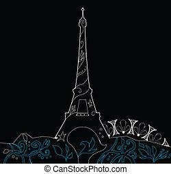 sylwetka, eiffel, ilustracja, wektor, ozdobny, wieża