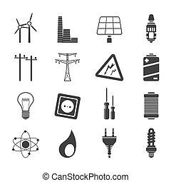 sylwetka, elektryczność, moc, ikony