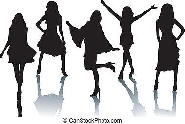 sylwetka, fason, dziewczyny