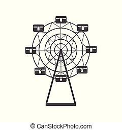sylwetka, ferris, ikona, carousel, entertainment., pojęcie, koło, okrągły