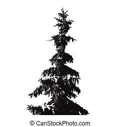 sylwetka, fur-tree, odizolowany, czarne tło, biały