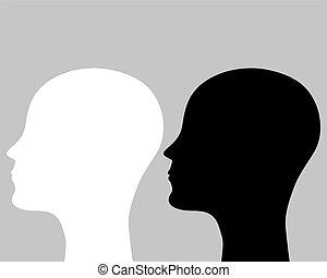 sylwetka, głowa, ludzki, dwa