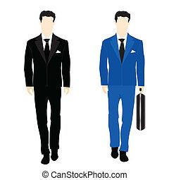 sylwetka, garnitur, handlowy zaludniają